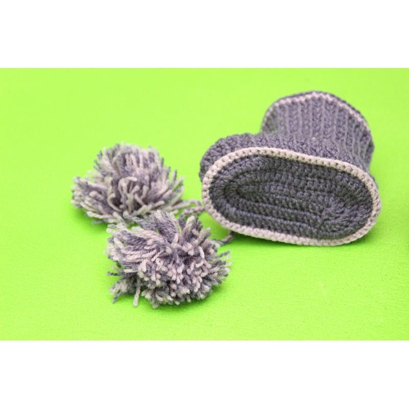 Фиолетово-сиреневые пинетки-ботиночки